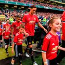 Nemanja Matic of Manchester United takes to the field ahead of the International Champions Cup match between Manchester United and Sampdoria at the Aviva Stadium in Dublin. Photo by David Fitzgerald/Sportsfile