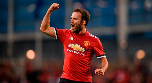 Juan Mata of Manchester United celebrates after scoring his side's second goal during the International Champions Cup match between Manchester United and Sampdoria at the Aviva Stadium in Dublin. Photo by David Fitzgerald/Sportsfile