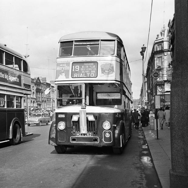 A bus on O'Connell Street on April 3, 1966