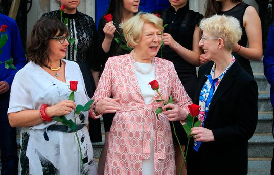 Romany activist Prof Ethel Brooks of the US Memorial Council, Sabina Higgins and Lynn Jackson, founding trustee of the Holocaust Education Trust Ireland, at the Mansion House in Dublin. Photo: Collins