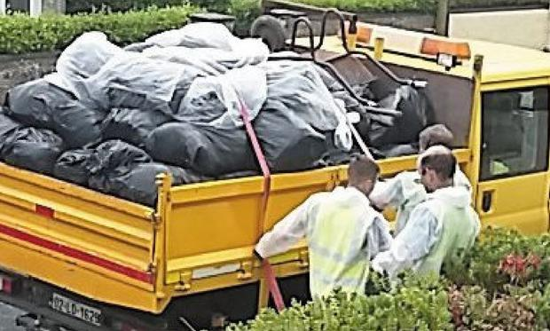 The family-of-five had collected 168 bags of rubbish