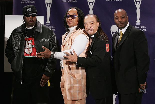 NEW YORK - MARCH 12: (L to R) Honorees Scorpio, Melle Mel, Kidd Creole and Raheim of The Furious Five pose in the press room at the 22nd annual Rock And Roll Hall Of Fame Induction Ceremony at the Waldorf Astoria Hotel March 12, 2007 in New York City. (Photo by Peter Kramer/Getty Images)