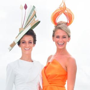 Sisters Barbara and Gabrielle Dunne at Ladies Day at the Galway Races. Picture: Tony Gavin