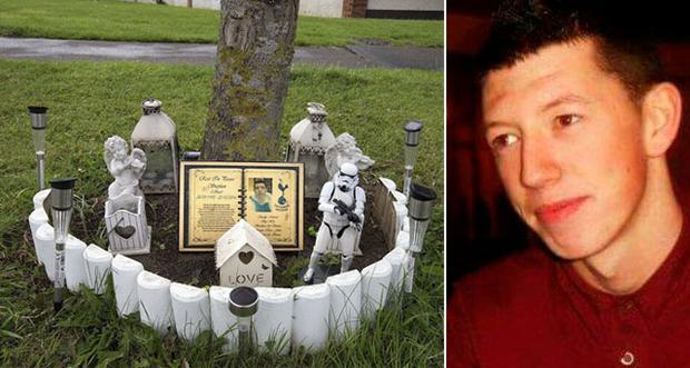 The memorial spot and (right) road victim Stephen Hyland