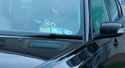 Bullet holes in a car at Mill Close in Stamullen, Co. Meath after a man was shoot. Picture credit; Damien Eagers