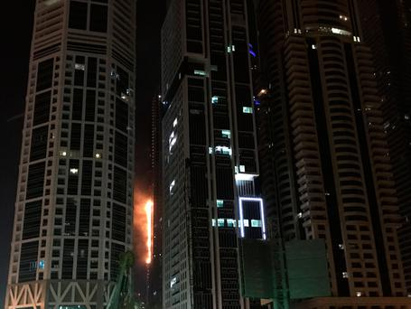 Blaze rips through Dubai skyscraper