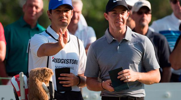Rory McIlroy (right) and caddie Harry Diamond (left) on the 12th tee