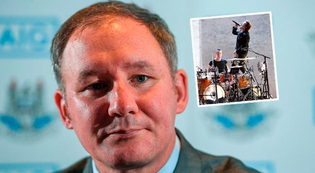 Jim Gavin speaking yesterday and (inset) U2 playing at Croke Park recently
