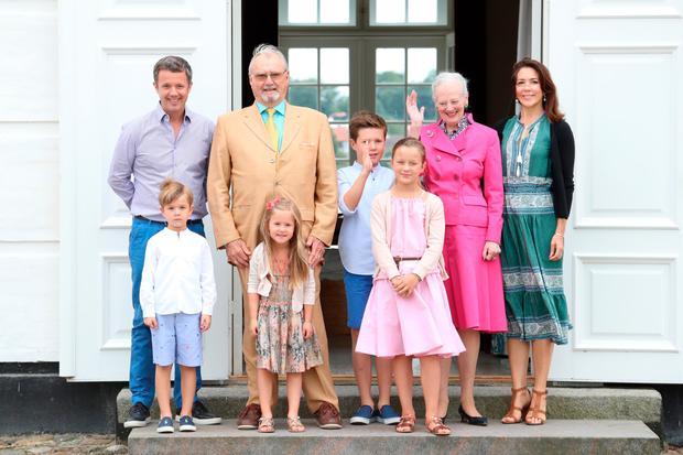 Crown Prince Frederik of Denmark, Prince Vincent of Denmark, Prince Henrik of Denmark, Princess Josephine of Denmark, Prince Christian of Denmark, Princess Isabella of Denmark, Queen Margrethe II of Denmark and Crown Princess Mary of Denmark pose for photographers at the annual summer photo call for The Danish Royal Family at Grasten Castle on July 15, 2016 in Grasten, Denmark. (Photo by Luca Teuchmann/Getty Images)