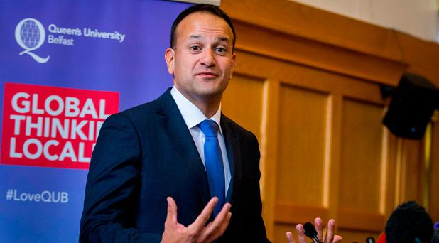 Taoiseach Leo Varadkar speaks during a press conference at Queen's University in Belfast on his first visit to Northern Ireland: Liam McBurney/PA Wire