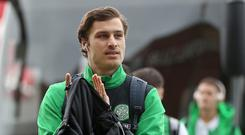 Erik Sviatchenko of Celtic arrives at the stadium prior to the Ladbrokes Scottish Premiership match between Celtic and Rangers at Celtic Park on March 12, 2017 in Glasgow, Scotland. (Photo by Ian MacNicol/Getty Images)