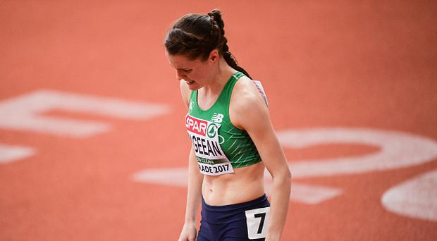 Ciara Mageean of Ireland after pulling up during the Women's 1500m Final during the European Indoor Athletics Championships - Day Two at Kombank Arena in Belgrade, Serbia. (Photo By Sam Barnes/Sportsfile via Getty Images)