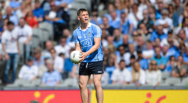 Con OCallaghan of Dublin prepares to take a free during the Leinster GAA Football Senior Championship Final match between Dublin and Kildare at Croke Park in Dublin. Photo by Piaras Ó Mídheach/Sportsfile