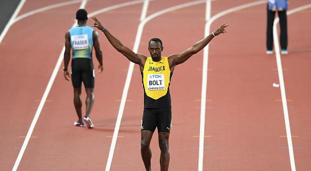 Usain Bolt of Jamaica celebrates during the Men's 100 metres heats during day one of the 16th IAAF World Athletics Championships London 2017 at The London Stadium on August 4, 2017 in London, United Kingdom. (Photo by Matthias Hangst/Getty Images)