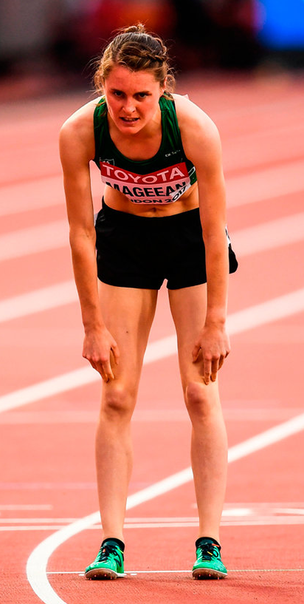 A dejected Ciara Mageean after round one of the Women's 1500m last night at the IAAF World Athletics Championships in London Stadium. Photo: Sportsfile