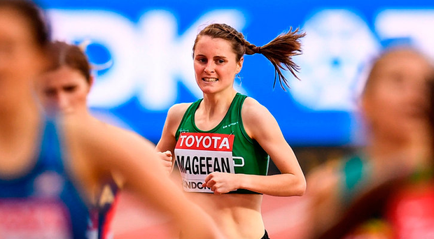 Ciara Mageean approaches the finish line in the first heat of the 1500m Photo: Stephen McCarthy/Sportsfile