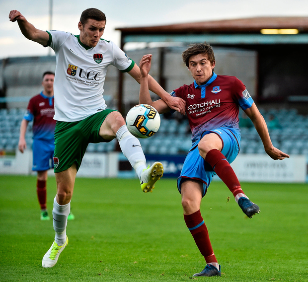 Garry Buckley of Cork City in action against Jake Hyland of Drogheda United. Photo: David Maher/Sportsfile
