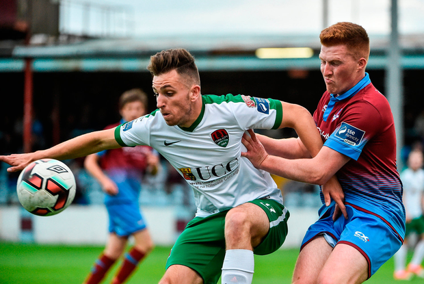 Conor Ellis of Cork City and Stephen Dunne of Drogheda United jostle for the ball. Photo: David Maher/Sportsfile