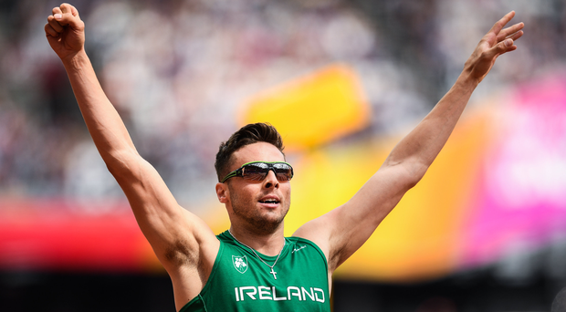 Brian Gregan of Ireland celebrates after finishing third in his round 1 race of the Men's 400m event during day two of the 16th IAAF World Athletics Championships at the London Stadium in London, England. Photo by Stephen McCarthy/Sportsfile