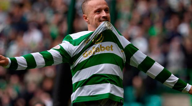 Celtic's Leigh Griffiths celebrates after scoring the first goal