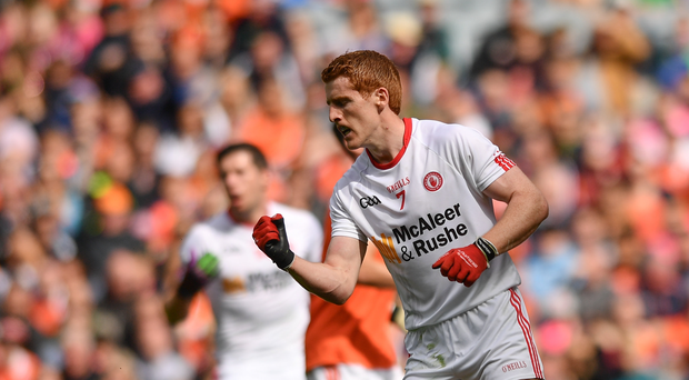 Peter Harte of Tyrone celebrates after scoring his side's first goal of the game during the GAA Football All-Ireland Senior Championship Quarter-Final match between Tyrone and Armagh at Croke Park in Dublin. Photo by Ramsey Cardy/Sportsfile