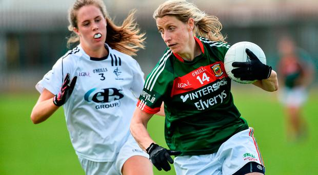 Cora Staunton of Mayo in action against Sarah Tierney of Kildare