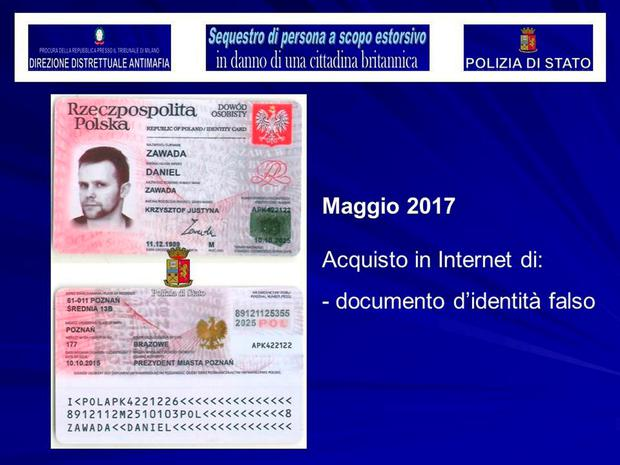 A fake identity card with a different name belonging to Lukasz Pawel Herba, the suspected kidnapper of a British mode. The text on right read,