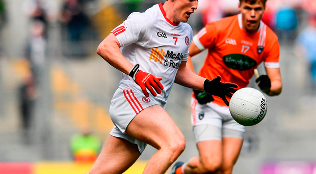 Peter Harte of Tyrone during the GAA Football All-Ireland Senior Championship Quarter-Final match between Tyrone and Armagh at Croke Park in Dublin. Photo by Ramsey Cardy/Sportsfile
