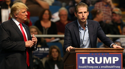 The family: Eric Trump speaks at a rally for his father, US president Donald Trump. Photo: Getty Images