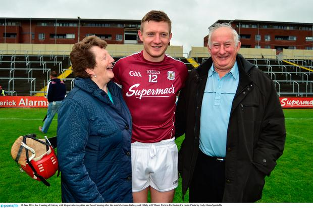 Joe Canning of Galway with his parents Josephine and Sean Canning