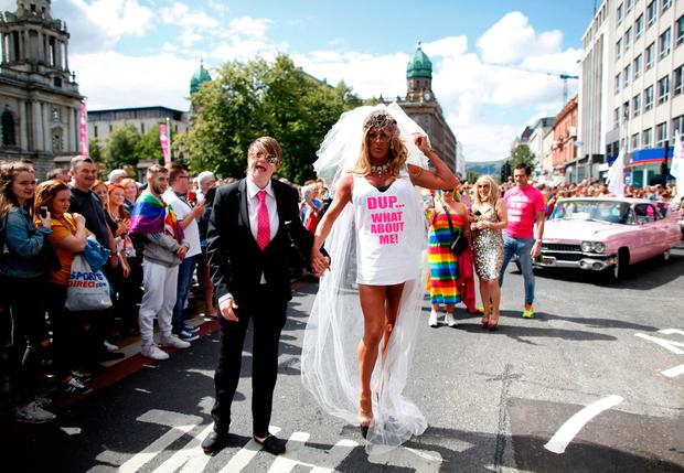 The Pride parade as it makes it's way through Belfast city centre Peter Morrison/PA Wire