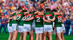 Mayo players before the drawn game with Roscommon