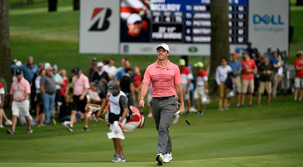 Rory McIlroy of Northern Ireland walks up to the 18th hole during the third round of the World Golf Championships - Bridgestone Invitational at Firestone Country Club South Course on August 5, 2017, in Akron, Ohio. (Photo by Stan Badz/PGA TOUR)
