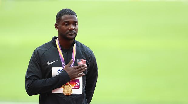 Justin Gatlin of the United States poses with the gold medal for the Men's 100 metres during day three of the 16th IAAF World Athletics Championships London 2017 at The London Stadium on August 6, 2017 in London, United Kingdom. (Photo by Alexander Hassenstein/Getty Images for IAAF)