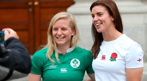 Ireland captain Claire Molloy with her English counterpart Sarah Hunter. Photo: Laura Hutton/Collins Photo Agency