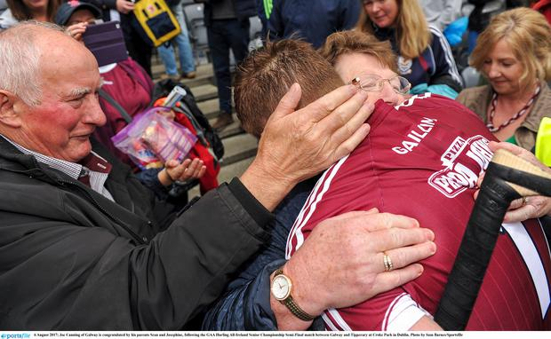 6 August 2017; Joe Canning of Galway is congratulated by his parents Sean and Josephine, following the GAA Hurling All-Ireland Senior Championship Semi-Final match between Galway and Tipperary at Croke Park in Dublin. Photo by Sam Barnes/Sportsfile