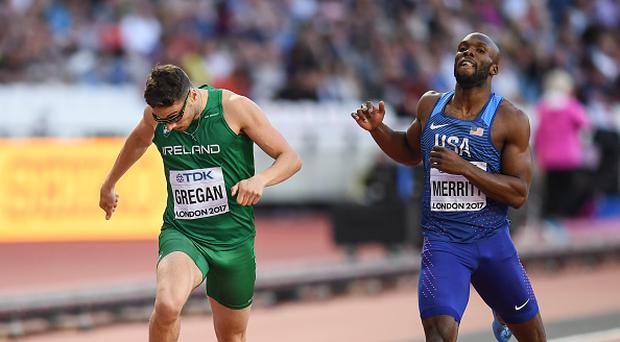 Brian Gregan of Ireland, left, and LaShawn Merritt of the USA cross the line during his semi-final of the Men's 400m event during day three of the 16th IAAF World Athletics Championships at the London Stadium in London, England. (Photo By Stephen McCarthy/Sportsfile via Getty Images)