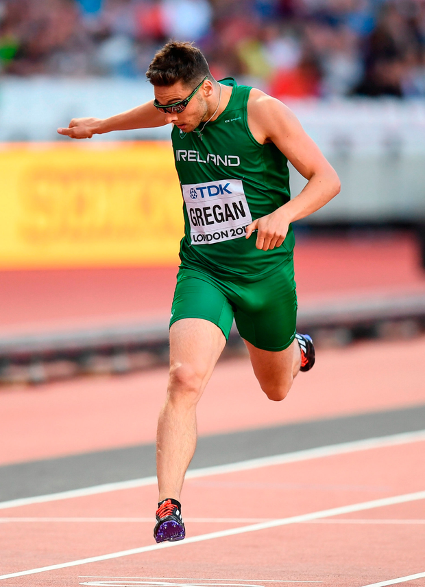 Brian Gregan crossing the line in yesterday's semi-final. Photo by Stephen McCarthy/Sportsfile