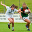 Sarah Rowe of Mayo in action against Dervla McGinn of Kildare during the TG4 All Ireland Senior Championship - Qualifier 4 match at Duggan Park in Ballinasloe, Co. Galway. Photo: Sportsfile