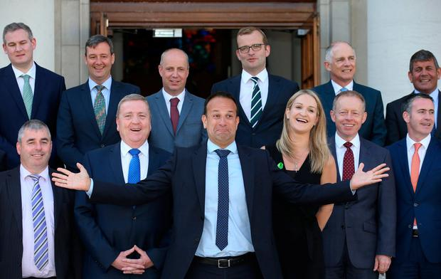 Helen McEntee pictured with her fellow junior ministers. Photo: Steve Humphreys