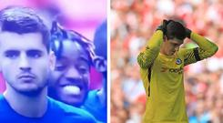 Michy Batshuayi stifled laughter as Chelsea's penalty kicks were replayed. CREDIT: BT SPORT/ GETTY IMAGES
