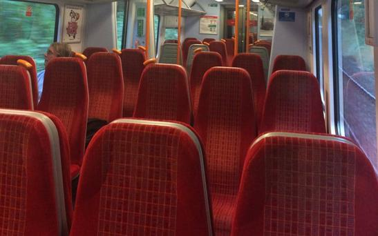 A usually packed Monday morning commuter train into Waterloo Credit: Twitter/Christopher O'Dell