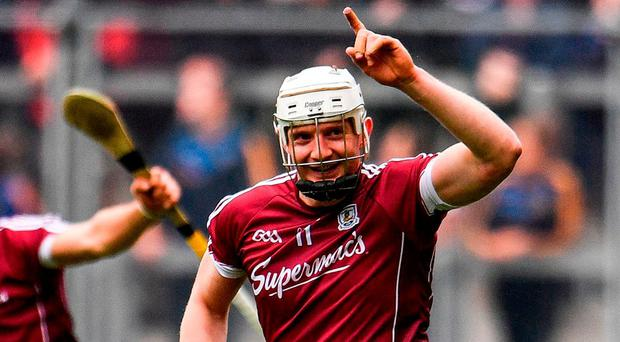 Joe Canning of Galway celebrates after scoring the winning point of the GAA Hurling All-Ireland Senior Championship Semi-Final match between Galway and Tipperary at Croke Park in Dublin. Photo by Ramsey Cardy/Sportsfile