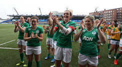 Irish players celebrate at the final whistle during the RBS Women's Six Nations Rugby Championship match between Wales and Ireland at BT Sport Arms Park, Cardiff, Wales. Photo by Darren Griffiths/Sportsfile