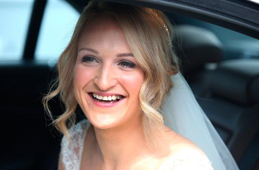 Helen McEntee pictured before marrying Paul Hickey at St Patrick's Church in Castletown, Meath. Picture credit; Damien Eagers