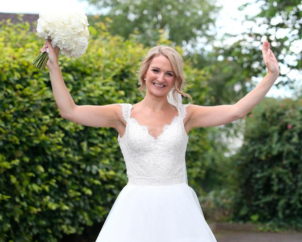 Helen McEntee pictured after marrying Paul Hickey at St Patrick's Church in Castletown, Meath. Picture credit; Damien Eagers
