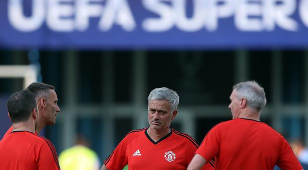 Jose Mourinho Manager of Manchester United looks on during a training session ahead of the UEFA Super Cup at the National Arena Filip II Macedonian