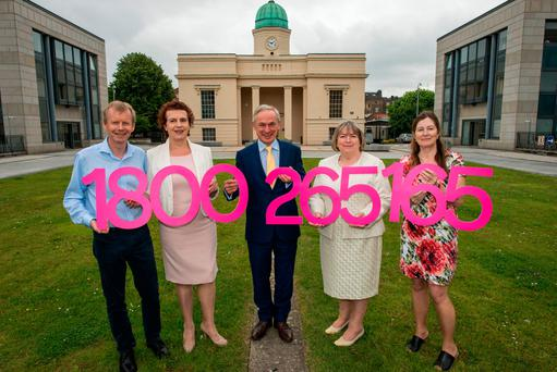 From left: Eir head of sponsorship, John Anslow; Irish Independent Education Editor Katherine Donnelly; Education Minister Richard Bruton; helpline co-ordinator Honor McAndrew, from the Institute of Guidance Counsellors; and NPCpp president Rose Callan. Photo: Douglas O'Connor
