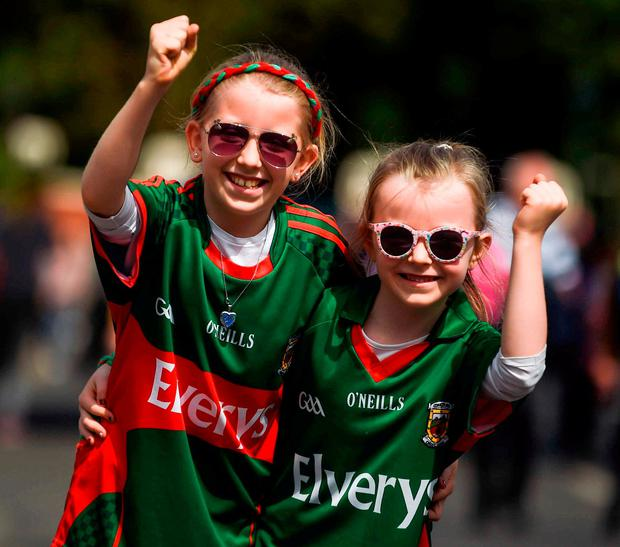 Mayo supporters Lilly (9) and Molly (7) McCormack, from Ballinrobe, Co Mayo. Photo: Daire Brennan/Sportsfile