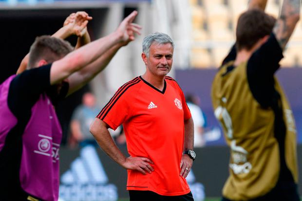 Manchester United's manager Jose Mourinho looks on during training ahead of the UEFA Super Cup against Real Madrid at The National Arena Filip II in Skopje, Macedonia. Pic: Getty Images